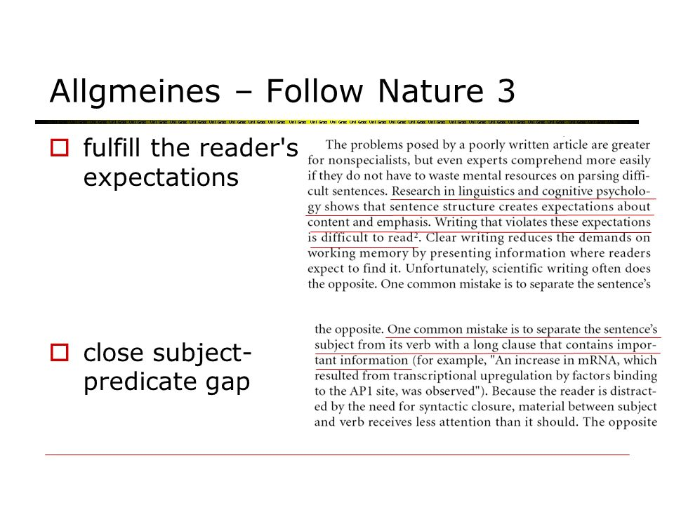 Allgmeines – Follow Nature 3 fulfill the reader's expectations close subject- predicate gap