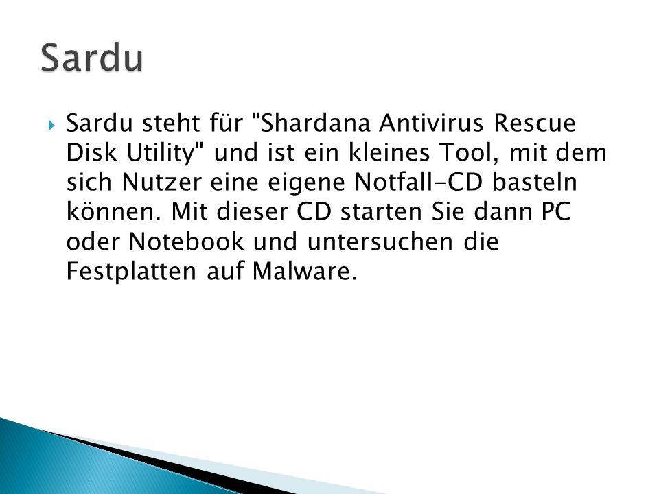 Sardu steht für Shardana Antivirus Rescue Disk Utility und ist ein kleines Tool, mit dem sich Nutzer eine eigene Notfall-CD basteln können.