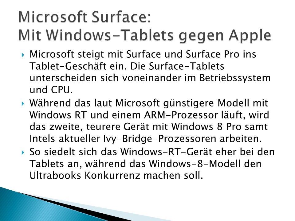 Microsoft steigt mit Surface und Surface Pro ins Tablet-Geschäft ein.