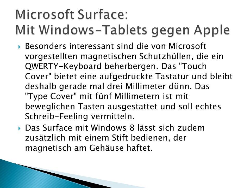 Besonders interessant sind die von Microsoft vorgestellten magnetischen Schutzhüllen, die ein QWERTY-Keyboard beherbergen.