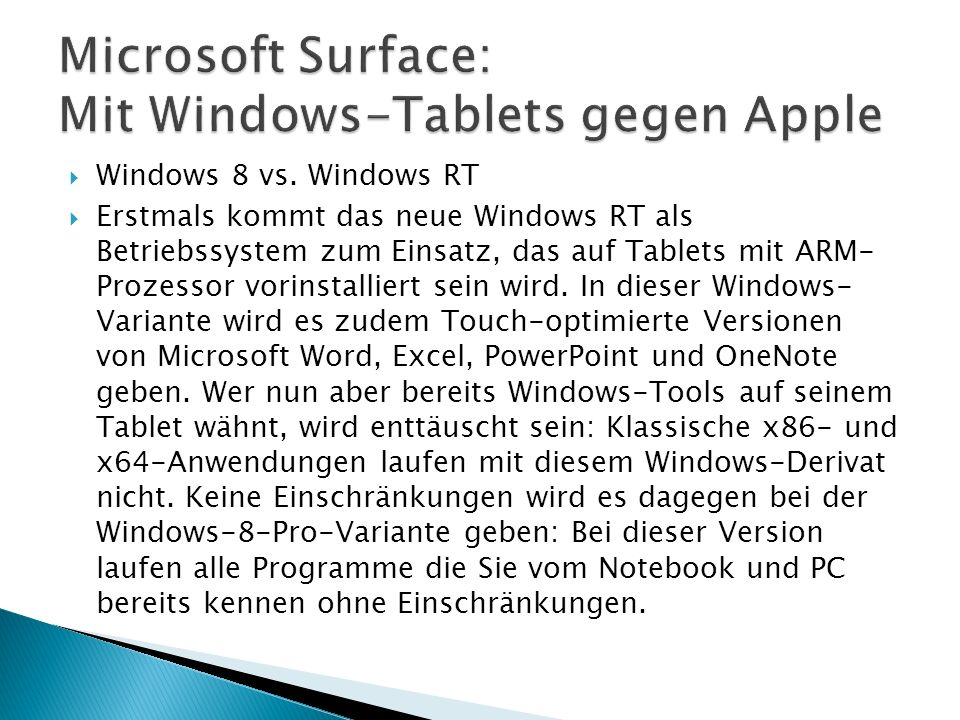 Windows 8 vs.