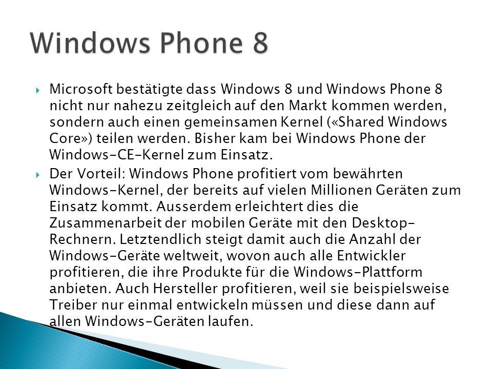 Microsoft bestätigte dass Windows 8 und Windows Phone 8 nicht nur nahezu zeitgleich auf den Markt kommen werden, sondern auch einen gemeinsamen Kernel («Shared Windows Core») teilen werden.