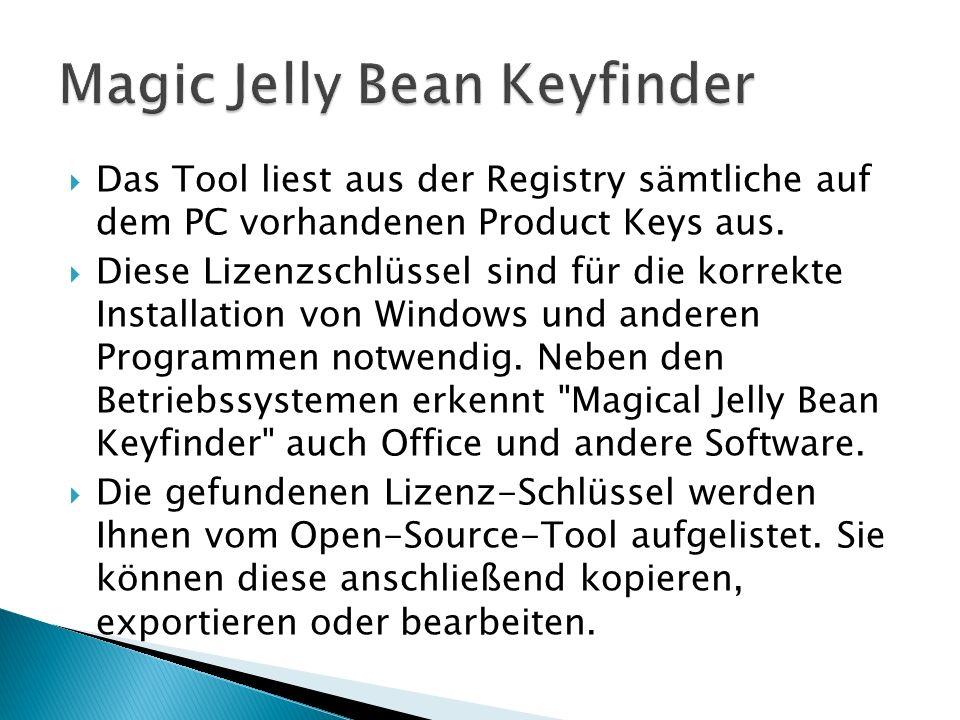 Das Tool liest aus der Registry sämtliche auf dem PC vorhandenen Product Keys aus.