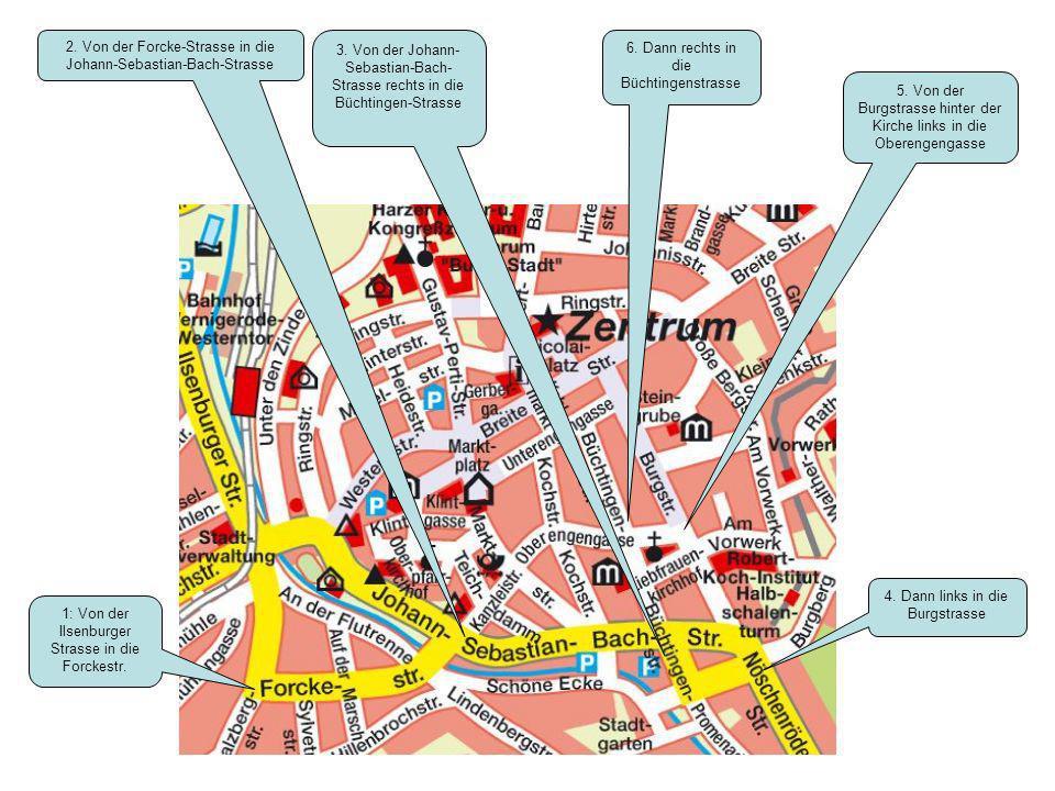 1: Von der Ilsenburger Strasse in die Forckestr. 2. Von der Forcke-Strasse in die Johann-Sebastian-Bach-Strasse 3. Von der Johann- Sebastian-Bach- Str