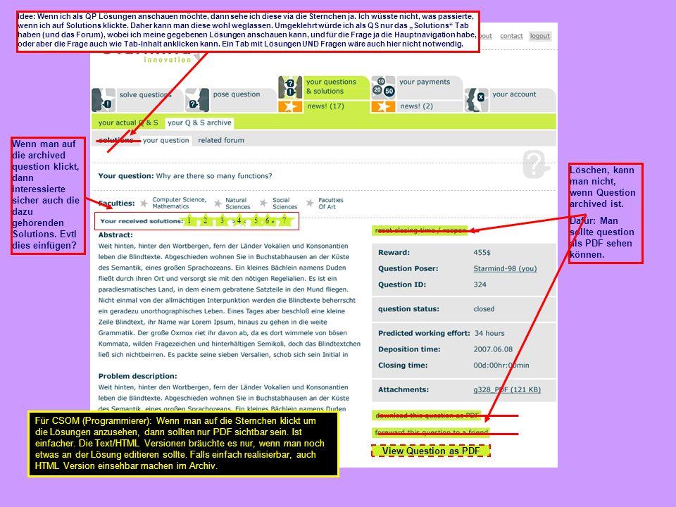 View Question as PDF 1234567 Wenn man auf die archived question klickt, dann interessierte sicher auch die dazu gehörenden Solutions.