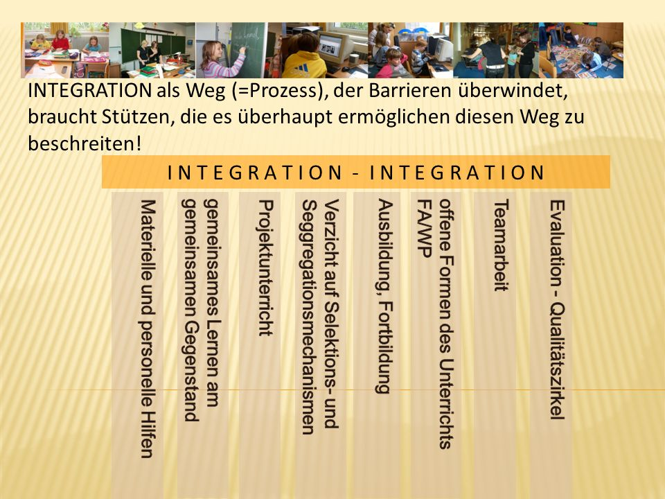 I N T E G R A T I O N - I N T E G R A T I O N INTEGRATION als Weg (=Prozess), der Barrieren überwindet, braucht Stützen, die es überhaupt ermöglichen