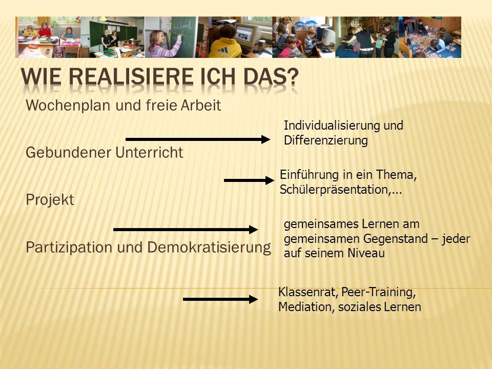 Wochenplan und freie Arbeit Gebundener Unterricht Projekt Partizipation und Demokratisierung Individualisierung und Differenzierung gemeinsames Lernen