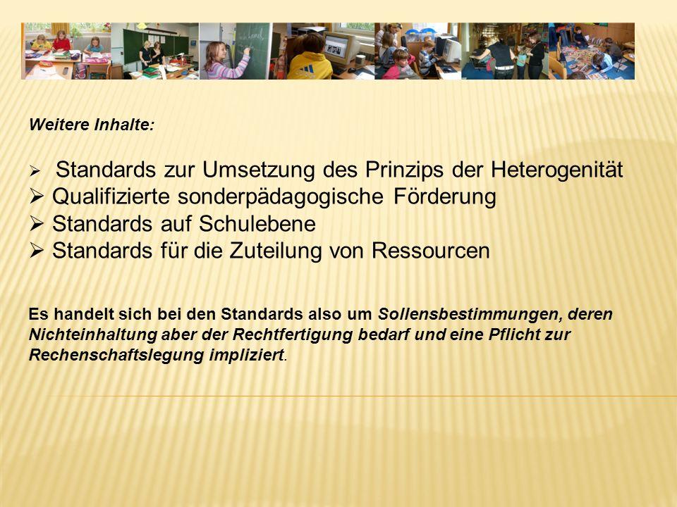 Weitere Inhalte: Standards zur Umsetzung des Prinzips der Heterogenität Qualifizierte sonderpädagogische Förderung Standards auf Schulebene Standards