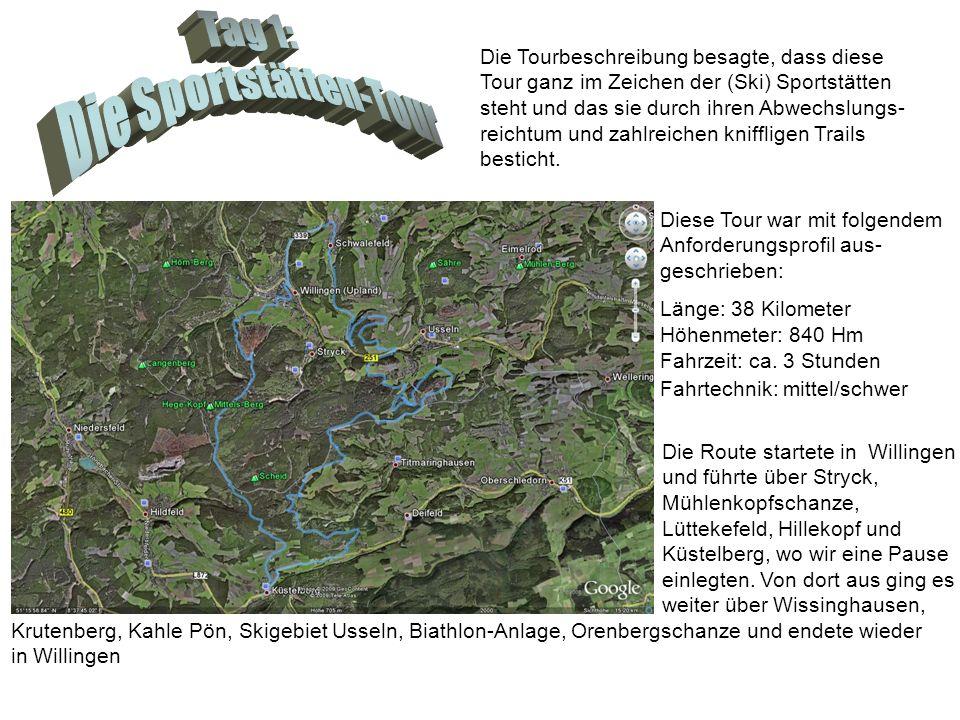 Diese Tour war mit folgendem Anforderungsprofil aus- geschrieben: Länge: 38 Kilometer Höhenmeter: 840 Hm Fahrzeit: ca. 3 Stunden Fahrtechnik: mittel/s