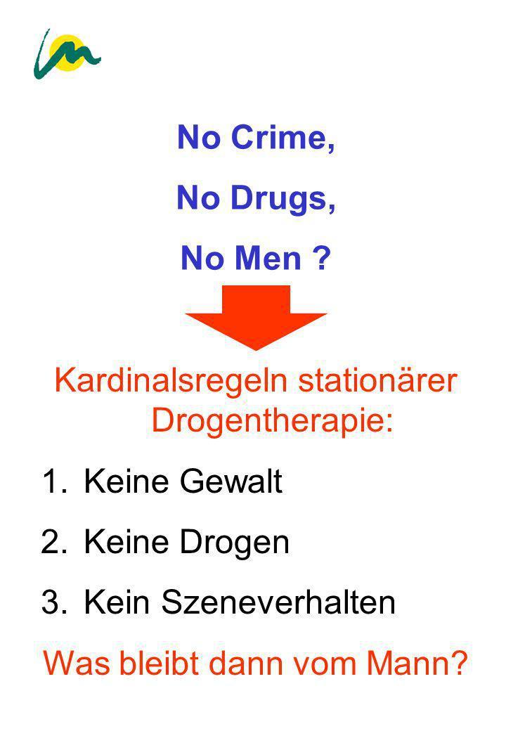 No Crime, No Drugs, No Men ? Kardinalsregeln stationärer Drogentherapie: 1. Keine Gewalt 2. Keine Drogen 3. Kein Szeneverhalten Was bleibt dann vom Ma