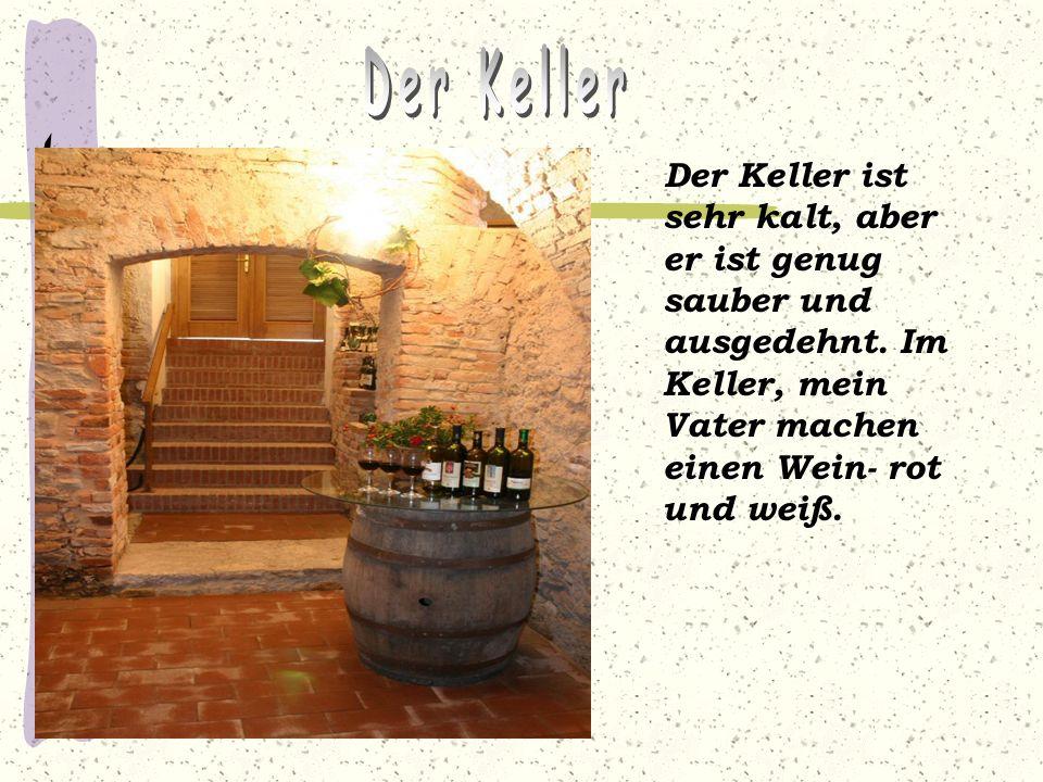 Der Keller ist sehr kalt, aber er ist genug sauber und ausgedehnt. Im Keller, mein Vater machen einen Wein- rot und weiß.