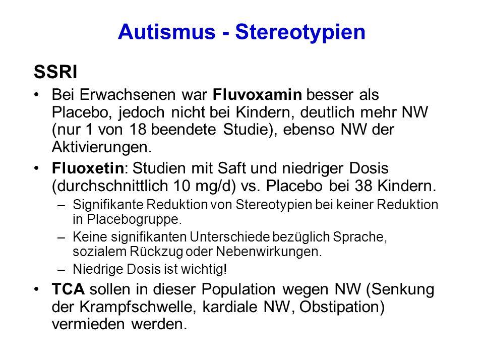 Autismus - Stereotypien SSRI Bei Erwachsenen war Fluvoxamin besser als Placebo, jedoch nicht bei Kindern, deutlich mehr NW (nur 1 von 18 beendete Studie), ebenso NW der Aktivierungen.