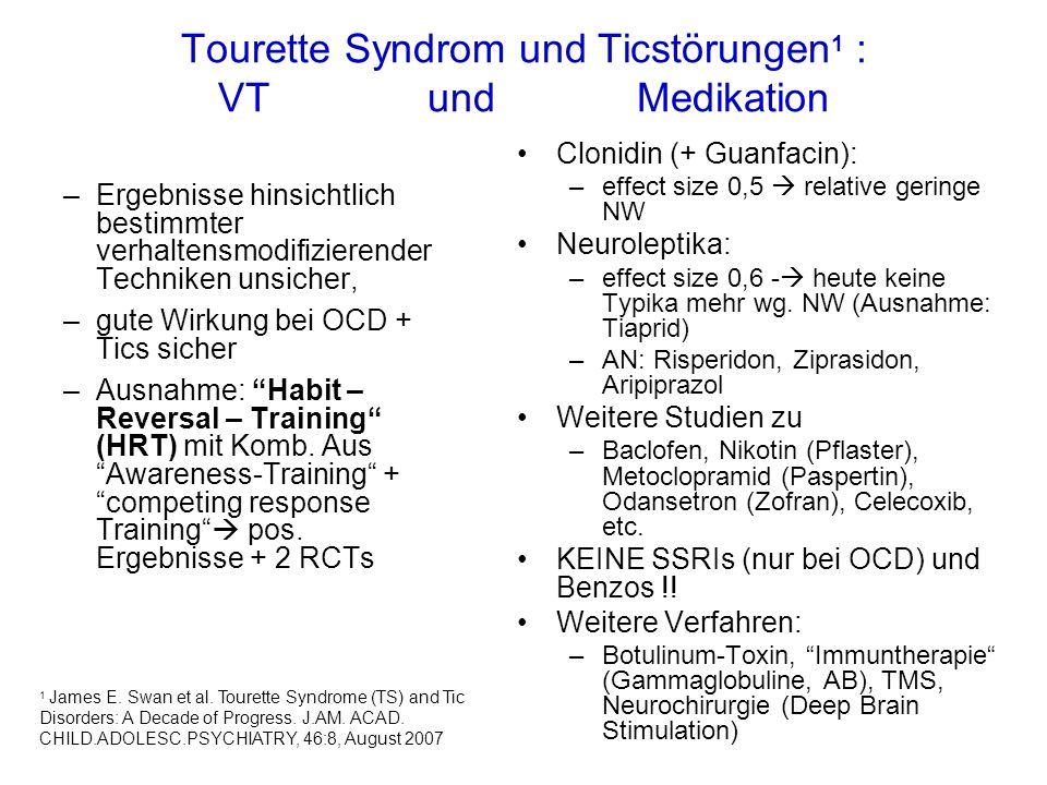 Tourette Syndrom und Ticstörungen 1 : VT und Medikation –Ergebnisse hinsichtlich bestimmter verhaltensmodifizierender Techniken unsicher, –gute Wirkung bei OCD + Tics sicher –Ausnahme: Habit – Reversal – Training (HRT) mit Komb.