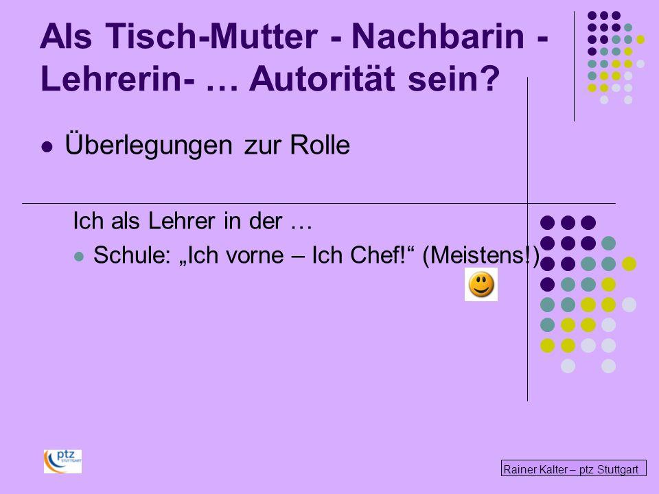 Rainer Kalter – ptz Stuttgart Überlegungen zur Rolle Ich als Lehrer in der … Schule: Ich vorne – Ich Chef! (Meistens!) Als Tisch-Mutter - Nachbarin -