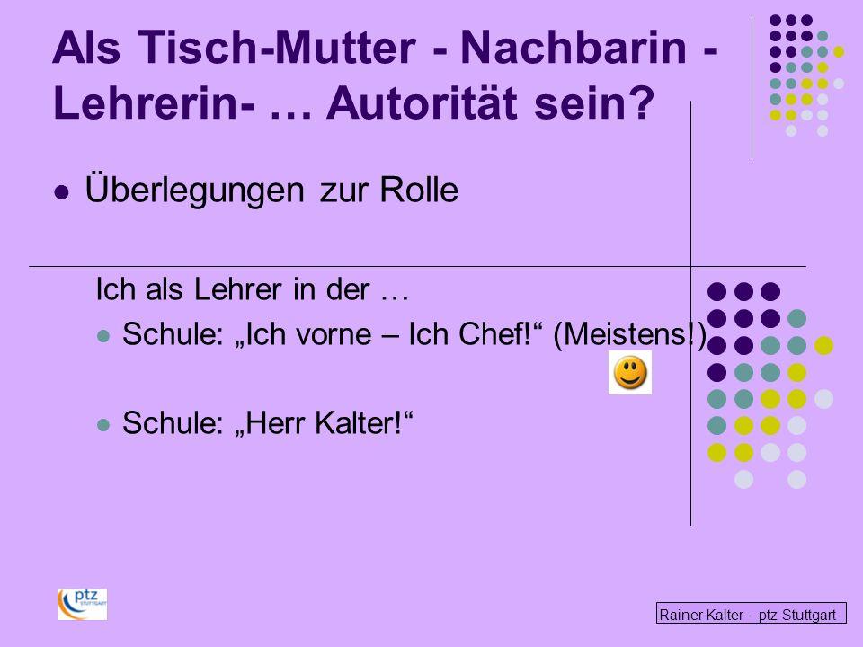 Rainer Kalter – ptz Stuttgart Überlegungen zur Rolle Ich als Lehrer in der … Schule: Ich vorne – Ich Chef! (Meistens!) Schule: Herr Kalter! Als Tisch-
