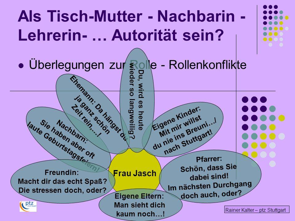 Rainer Kalter – ptz Stuttgart Überlegungen zur Rolle - Rollenkonflikte Frau Jasch Pfarrer: Schön, dass Sie dabei sind! Im nächsten Durchgang doch auch