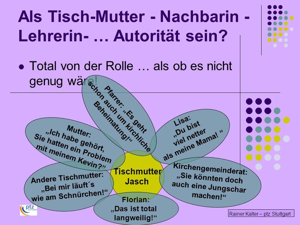Rainer Kalter – ptz Stuttgart Total von der Rolle … als ob es nicht genug wäre! Tischmutter Jasch Andere Tischmutter: Bei mir läuft´s wie am Schnürche