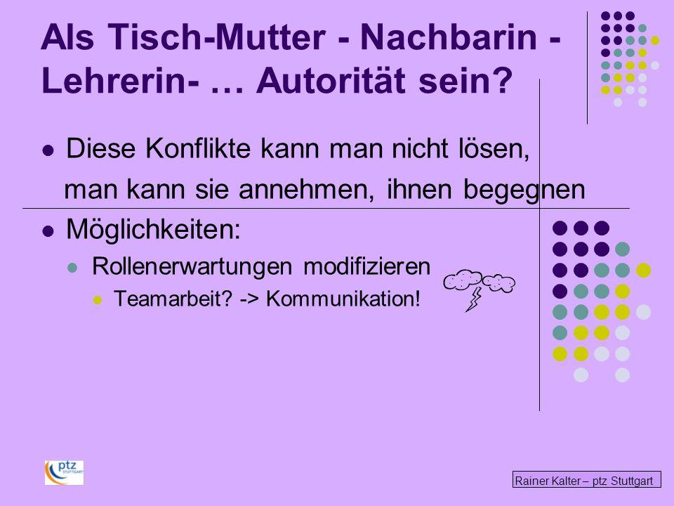 Rainer Kalter – ptz Stuttgart Diese Konflikte kann man nicht lösen, man kann sie annehmen, ihnen begegnen Möglichkeiten: Rollenerwartungen modifizieren Teamarbeit.