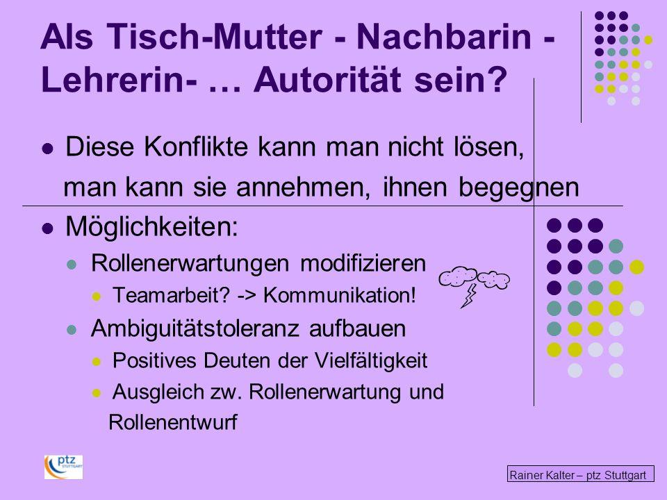 Rainer Kalter – ptz Stuttgart Diese Konflikte kann man nicht lösen, man kann sie annehmen, ihnen begegnen Möglichkeiten: Rollenerwartungen modifiziere