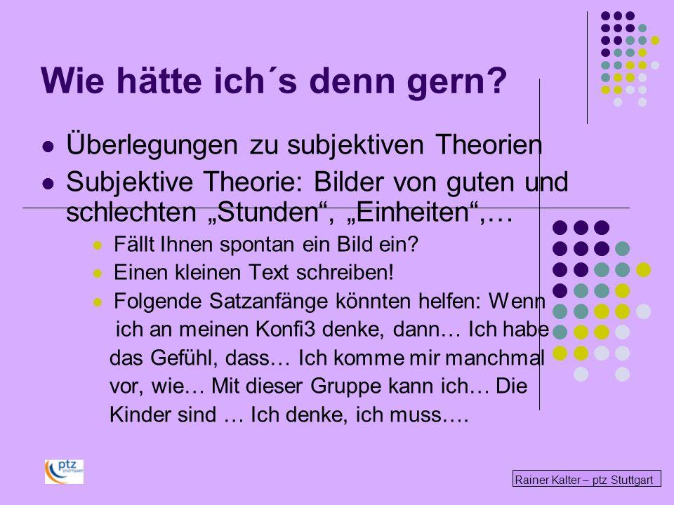 Rainer Kalter – ptz Stuttgart Wie hätte ich´s denn gern? Überlegungen zu subjektiven Theorien Subjektive Theorie: Bilder von guten und schlechten Stun