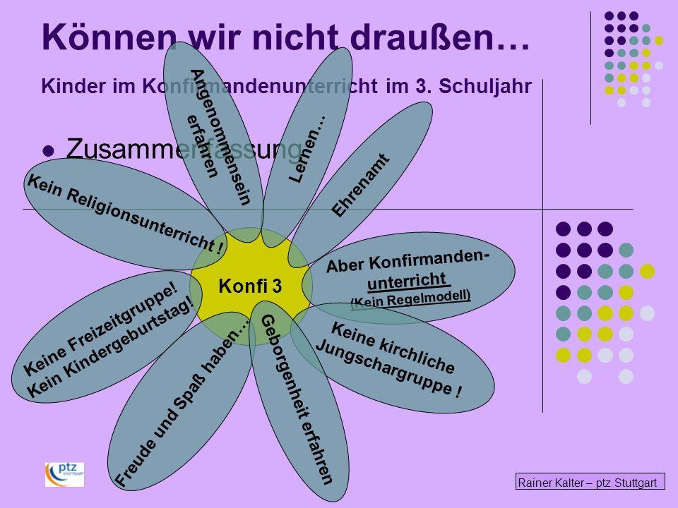 Können wir nicht draußen… Kinder im Konfirmandenunterricht im 3. Schuljahr Zusammenfassung Rainer Kalter – ptz Stuttgart Konfi 3 Kein Religionsunterri