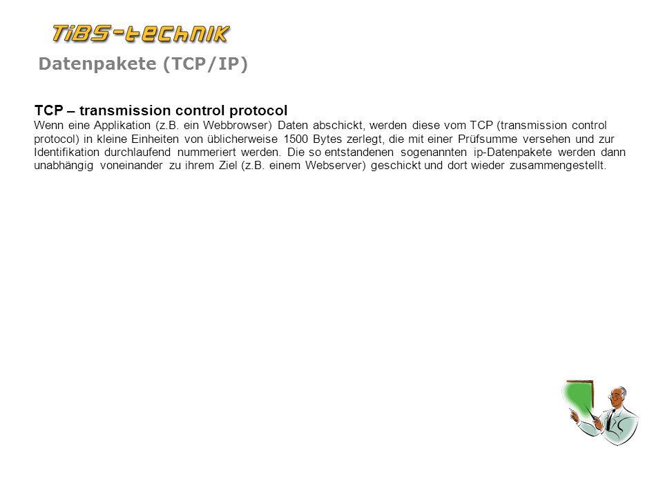 Datenpakete (TCP/IP) TCP – transmission control protocol Wenn eine Applikation (z.B.
