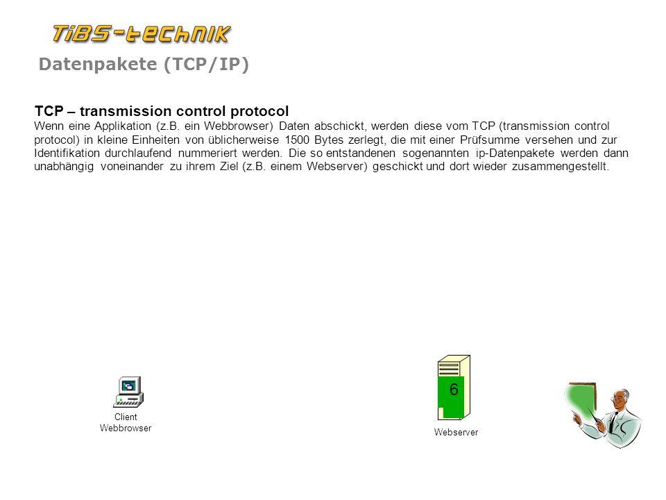 Datenpakete (TCP/IP) Portnummern Auf einem PC oder einem Server laufen normalerweise mehrere Prozesse gleichzeitig (z.B.