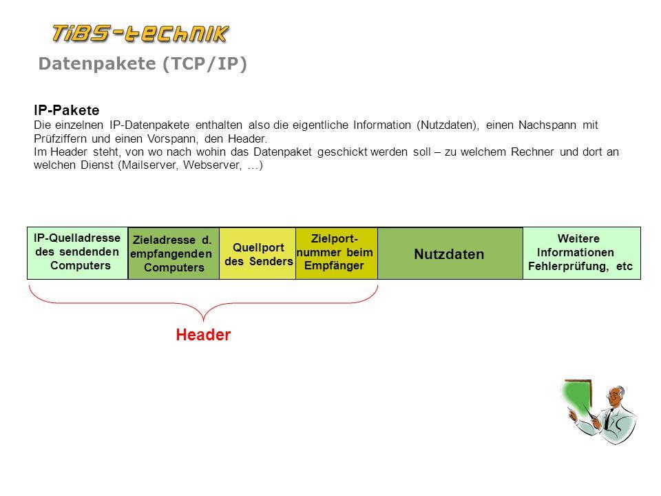 Datenpakete (TCP/IP) IP-Pakete Die einzelnen IP-Datenpakete enthalten also die eigentliche Information (Nutzdaten), einen Nachspann mit Prüfziffern und einen Vorspann, den Header.