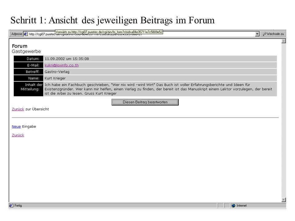 Schritt 1: Ansicht des jeweiligen Beitrags im Forum