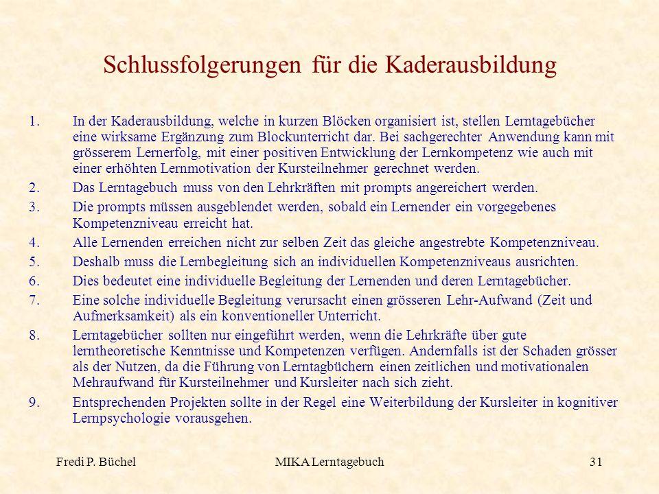 Fredi P. BüchelMIKA Lerntagebuch31 Schlussfolgerungen für die Kaderausbildung 1.In der Kaderausbildung, welche in kurzen Blöcken organisiert ist, stel