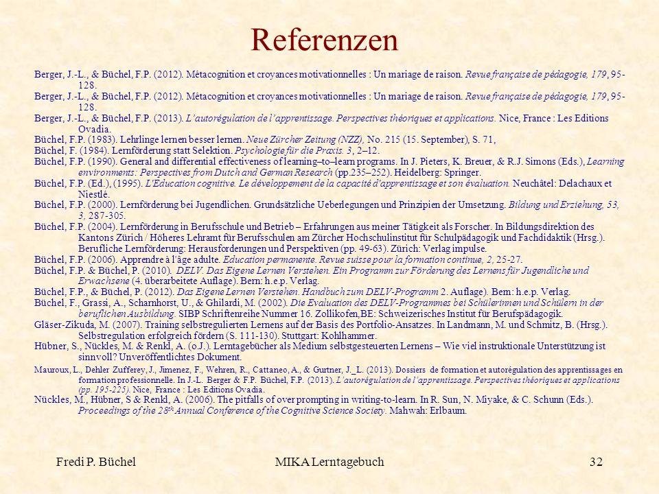 Fredi P. BüchelMIKA Lerntagebuch32 Referenzen Berger, J.-L., & Büchel, F.P. (2012). Métacognition et croyances motivationnelles : Un mariage de raison