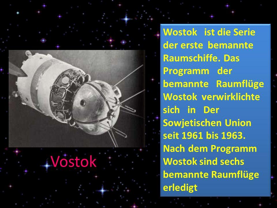 Vostok Wostok ist die Serie der erste bemannte Raumschiffe.