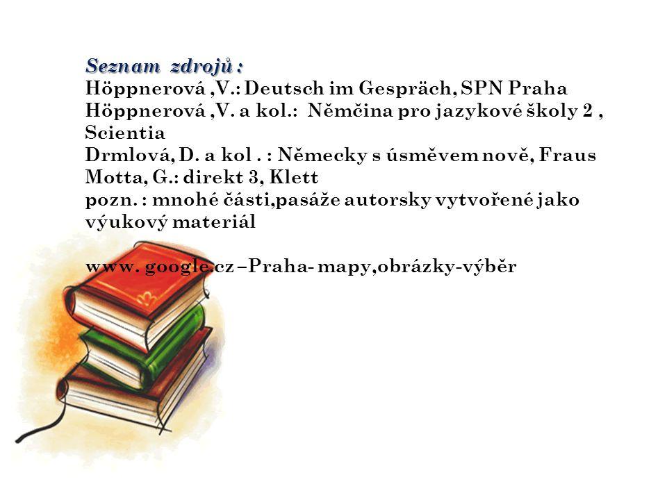Seznam zdrojů : Höppnerová,V.: Deutsch im Gespräch, SPN Praha Höppnerová,V.