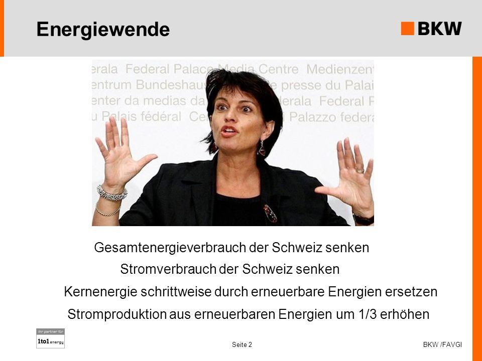Energiewende BKW /FAVGI Seite 2 Gesamtenergieverbrauch der Schweiz senken Kernenergie schrittweise durch erneuerbare Energien ersetzen Stromproduktion