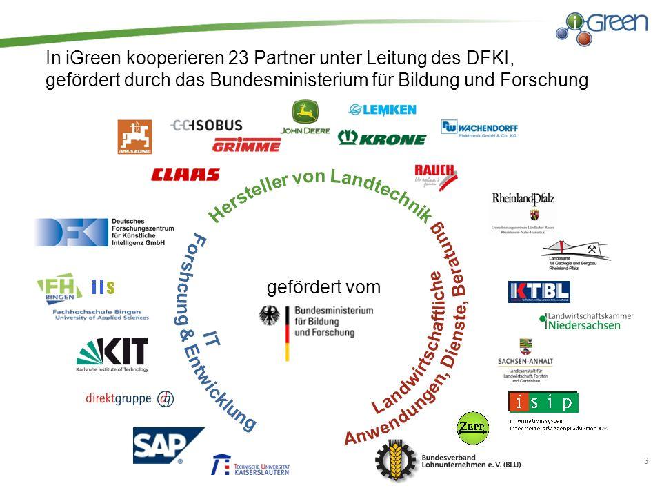 In iGreen kooperieren 23 Partner unter Leitung des DFKI, gefördert durch das Bundesministerium für Bildung und Forschung 3 gefördert vom