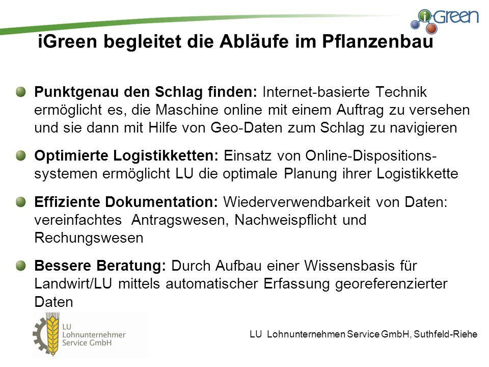 iGreen begleitet die Abläufe im Pflanzenbau Punktgenau den Schlag finden: Internet-basierte Technik ermöglicht es, die Maschine online mit einem Auftr