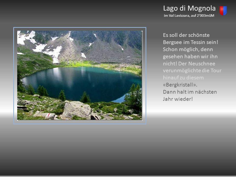 Lago di Mognola im Val Lavizzara, auf 2003müM Es soll der schönste Bergsee im Tessin sein! Schon möglich, denn gesehen haben wir ihn nicht! Der Neusch