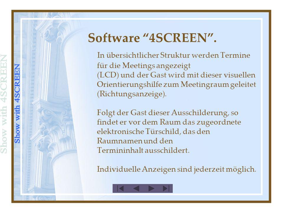 Software 4SCREEN. Hier eine Anzeige mit eingebundener Grafik (Logo)