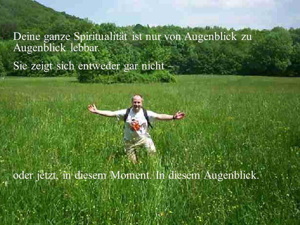 Deine ganze Spiritualität ist nur von Augenblick zu Augenblick lebbar. Sie zeigt sich entweder gar nicht – oder jetzt, in diesem Moment. In diesem Aug