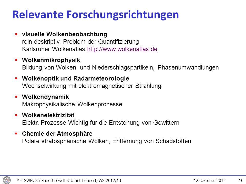 12. Oktober 2012 10 Relevante Forschungsrichtungen visuelle Wolkenbeobachtung rein deskriptiv, Problem der Quantifizierung Karlsruher Wolkenatlas http