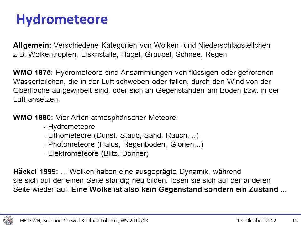 12. Oktober 2012 15 Hydrometeore Allgemein: Verschiedene Kategorien von Wolken- und Niederschlagsteilchen z.B. Wolkentropfen, Eiskristalle, Hagel, Gra