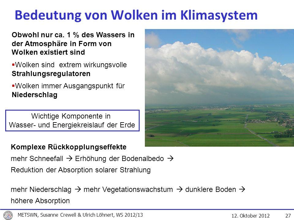 12. Oktober 2012 27 Bedeutung von Wolken im Klimasystem Obwohl nur ca. 1 % des Wassers in der Atmosphäre in Form von Wolken existiert sind Wolken sind