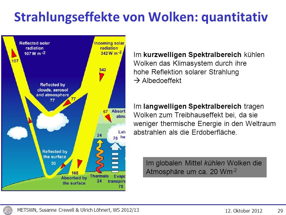 12. Oktober 2012 29 Strahlungseffekte von Wolken: quantitativ Im kurzwelligen Spektralbereich kühlen Wolken das Klimasystem durch ihre hohe Reflektion