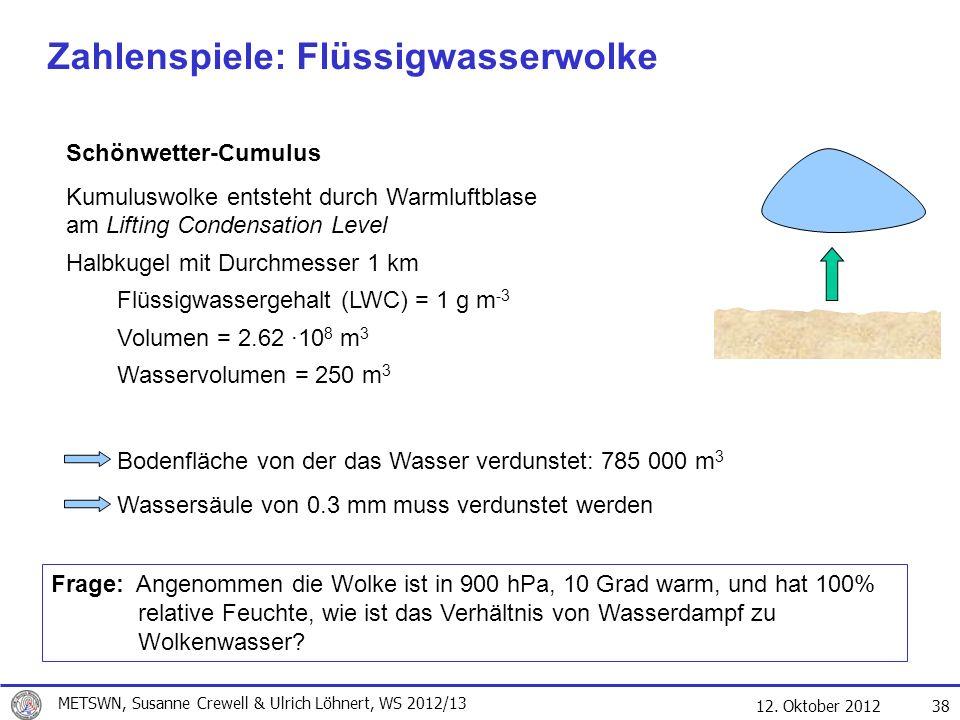 12. Oktober 2012 38 Zahlenspiele: Flüssigwasserwolke Schönwetter-Cumulus Kumuluswolke entsteht durch Warmluftblase am Lifting Condensation Level Halbk