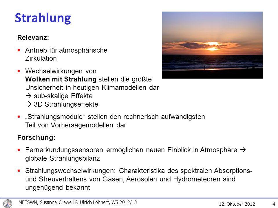 12. Oktober 2012 4 Strahlung Relevanz: Antrieb für atmosphärische Zirkulation Wechselwirkungen von Wolken mit Strahlung stellen die größte Unsicherhei