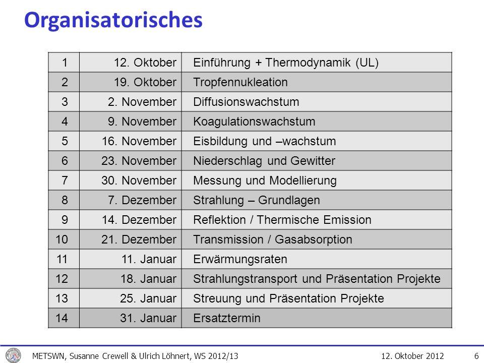 12. Oktober 2012 6 Organisatorisches 112. OktoberEinführung + Thermodynamik (UL) 219. OktoberTropfennukleation 32. NovemberDiffusionswachstum 49. Nove