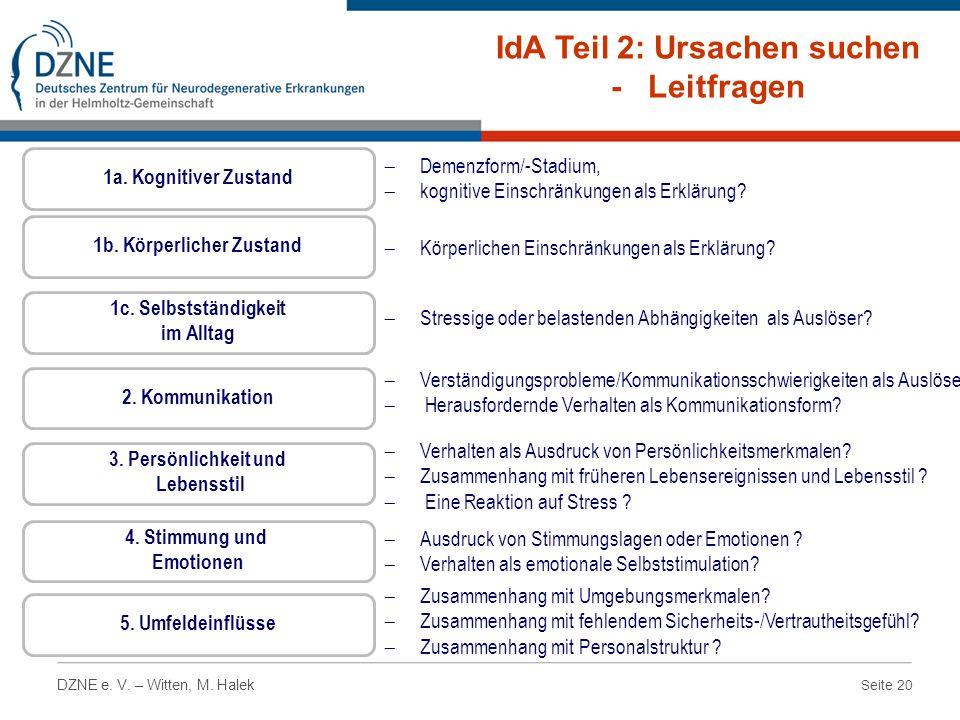 Seite 20 DZNE e. V. – Witten, M. Halek IdA Teil 2: Ursachen suchen - Leitfragen Demenzform/-Stadium, kognitive Einschränkungen als Erklärung? 1a. Kogn