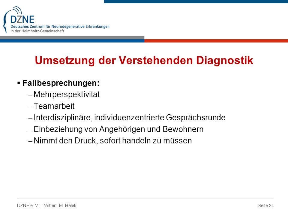 Seite 24 DZNE e. V. – Witten, M. Halek Umsetzung der Verstehenden Diagnostik Fallbesprechungen: Mehrperspektivität Teamarbeit Interdisziplinäre, indiv