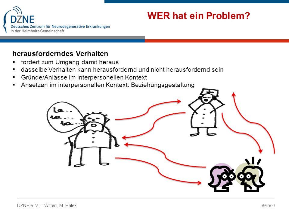 Seite 6 DZNE e. V. – Witten, M. Halek WER hat ein Problem? herausforderndes Verhalten fordert zum Umgang damit heraus dasselbe Verhalten kann herausfo