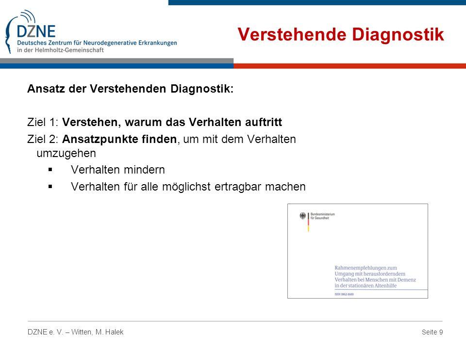 Seite 9 DZNE e. V. – Witten, M. Halek Verstehende Diagnostik Ansatz der Verstehenden Diagnostik: Ziel 1: Verstehen, warum das Verhalten auftritt Ziel